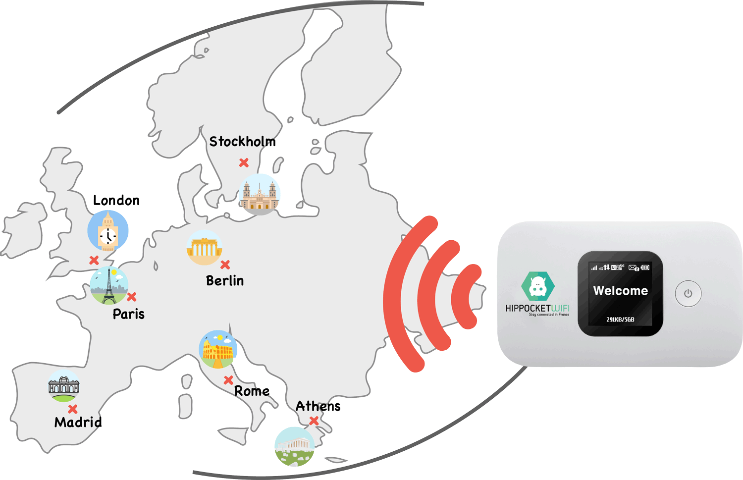 Pocket wifi rental in Amsterdam - Unlimited internet for Europe